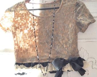 Coachella brown crop top, boho clothes, Music festival fashion, romantic bohemian lace ruffle crop top shirt, bow top, True rebel clothing