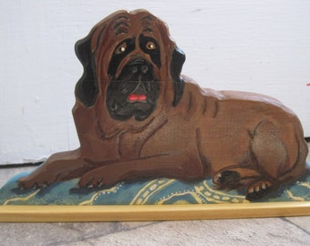 dog lovers bullmastiff decorative wood book shelf door stop piece