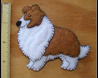 Shetland Sheepdog-Sheltie-Collie-Christmas Ornament-Refrigerator magnet COMBO-handmade embroidered felt-original design. Fun doggie gift.