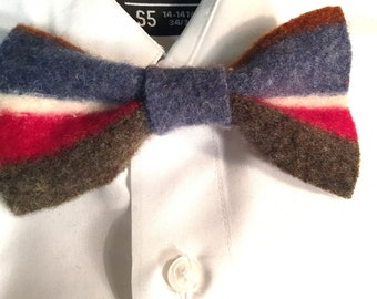 Upcycled wool striped bow tie
