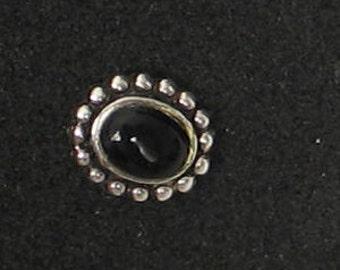 9mm  Black Onyx Oval Vintage Sterling SINGLE  Post Earring