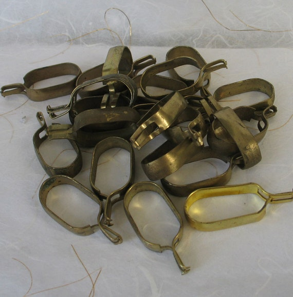 22 Brass Look Clip Curtain Rings
