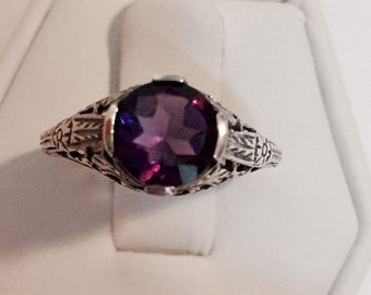Amethyst  Round Stone in Antique Setting Size 5 1/2