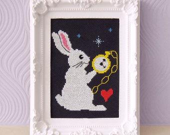 The White Rabbit Cross Stitch Pattern - Modern Cute Cross Stitch Pattern - Instant Download