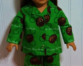 """Doll SCOUT Thin Mints Cotton Doll Pajamas Fit 18"""" dolls like American Girl Dolls - Proudly Made in America"""