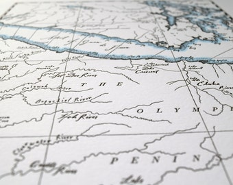 Vancouver Island and the Olympic Peninsula, Letterpress Map Art Print (Dark Grey)