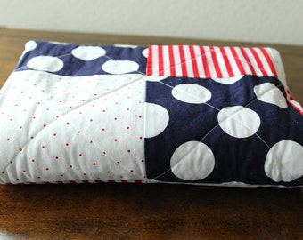 Beautiful Handmade Baby Quilt Red, White, Blue
