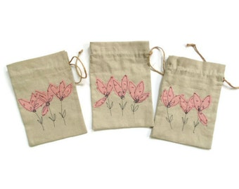 Linen gift bag, pink flowers, drawstring pouch, gifts for her, bridesmaids favor bags, appliqued floral bag, gift pouch