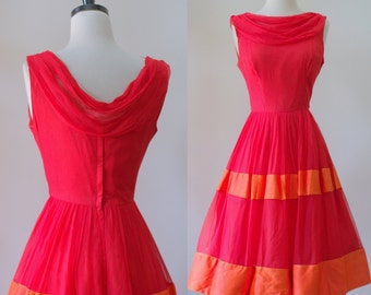 Vintage 1950s Dress Red Cocktail Dress 50s Party Dress 1950s Clothing Party Dresses for Womens Red Dress Size Small XS