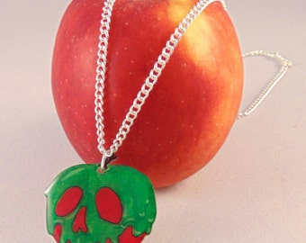 Poison Apple Necklace Pendant with Silver Plate Chain