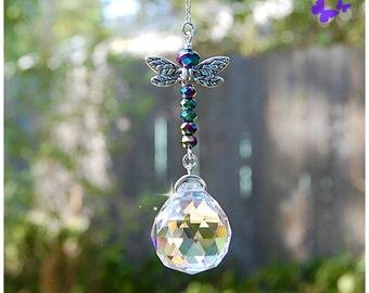 Iris Dragonfly Crystal Suncatcher, Rearview Mirror Car Charm, Window Sun Catcher, Ornament, Home Decor