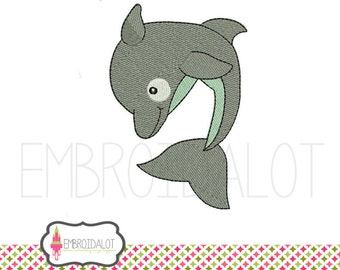 Dolphin embroidery design. Cute dolphin machine embroidery. Great for beach embroidery projects to add a summery touch.