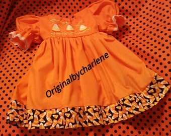Boutique OOAK  Custom Made Halloween Faux Smock Candy Corn Dress