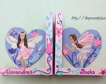 hand painted personalized bookends.bookends for girls,fairy bookends,kids bookends,childrens bookends,fairies,flowers,girls room decor,