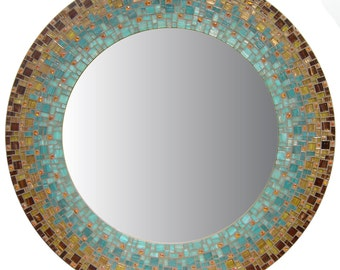 Moroccan Mirror - Brown, Sea Green, Teal, Orange, Copper