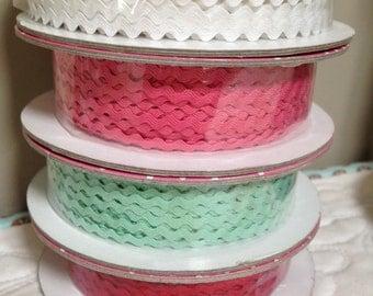 Mini Ric Rac in Red, Mint, White, Sugar Pink - 1/8th inch x 2 yard bundle - Cozy Christmas - Riley Blake Designs - by Lori Holt