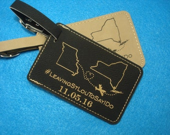 WEDDING LUGGAGE TAGS - 50 Leather Luggage Tags personalized with your design. Save the Date! Destination Wedding!