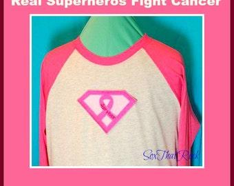 "Real Superheros Fight Cancer Shirt. ""Survivor"" option. Raglan, baseball jersey, style. Women, men, teen, girl, boys. Other colors available"