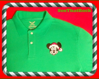 Mickey's Very Merry Christmas inspired custom polo shirt - men's, woman's, boys, and girls - you pick shirt color & size - great family look