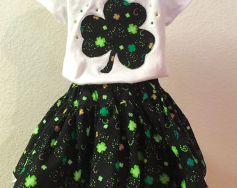 St. Patrick's Day girls twirly skirt & shirt set with your choice of shirt, perfect for Disney, birthday parties, and photos