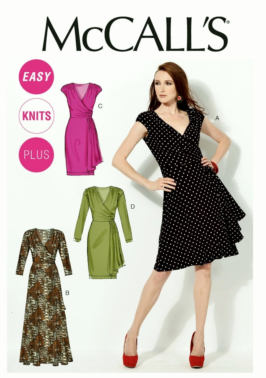 Simple Knit Dress Pattern : Easy Stretch Knit Dress Pattern Mock Wrap Dress Pattern