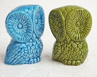 Ceramic Owl Figurines Mid Century Modern Bird Sculptures in Retro Avocado Green and Aqua - Made to Order