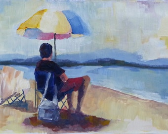 Small Original Painting: Beach watcher, Beach Umbrella, Cream, Blue