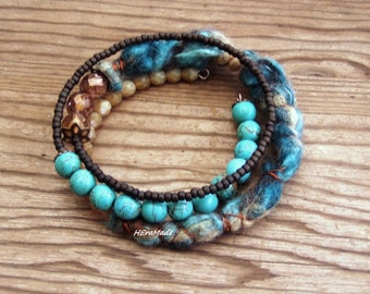 Memory wire boho colorful jewelry felt textile bracelet artisan teal brown mineral stone gypsy festival gift for her