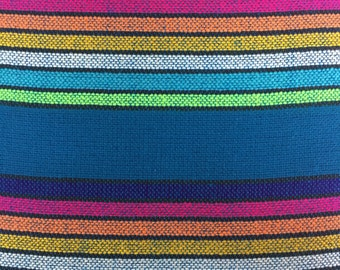 Ethnic Mexican Blue Colorful Stripes Fabric Yard Tribal