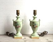 Lamps, Pair Vintage Boudoir Celery Mint Green Floral Urn Ceramic Lamps