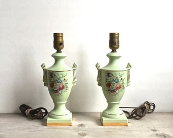 Lamps, Pair Vintage Boudoir Celery Mint Green Floral Urn Ceramic Lamps