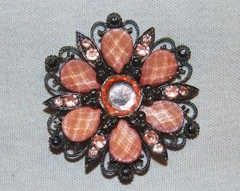 Vintage / Pink / Brooch / Rhinestones / Silver / old / jewellery / jewelry