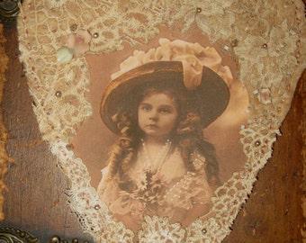 Vintage Lace Collage Hanging Heart Edwardian Hat Girl