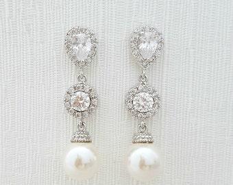 Bridal Earrings Pearl Crystal Wedding Jewelry Cubic Zirconia Pearl Earrings Crystal Wedding Earrings Bridal Pearl Jewelry, Chloe