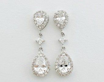 Bridal Earrings Crystal Wedding Jewelry Teardrop Wedding Earrings Cubic Zirconia Crystal Drop Earrings, Cori