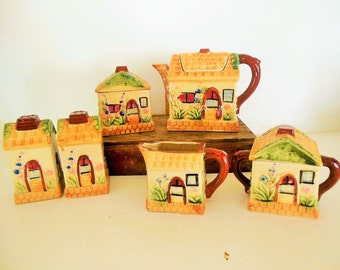 40's Cottage Ware Teapot Set, Sugar, Creamer, Tea Bag, Salt, Pepper Hand Painted Biscuit