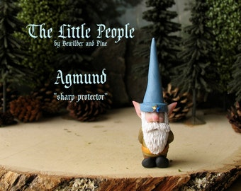 Agmun - Miniature Nisse - Household Gnome or Elf Figurine - Helpful Spirit - Little People by Bewilder and PIne - Polymer Clay Sculpture