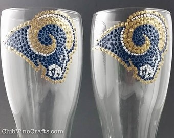 Custom Handpainted St. Louis Rams Themed Glassware