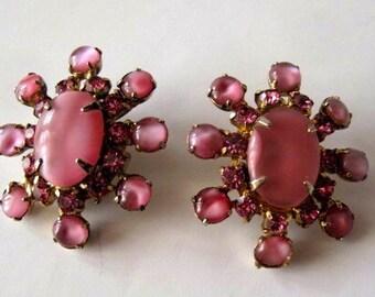 Vintage Pink Moonglow Clip On Earrings Mid Centuty Estate Jewelry, Moonglow earrings, clip on earrings, estate earrings, pink earrings