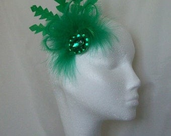 Bright Emerald Green Glitter Feather and Crystal Hair Clip Fascinator