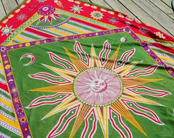 Vintage Cotton Throw Large Size Bohemian Hippie Style Astrological Theme Planetary Sun and Moon/Bedspread Table Cover