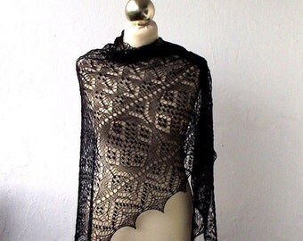 Black hand knitted  cobweb lace shawl with nupps