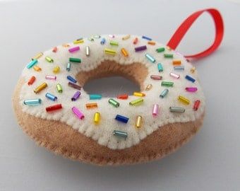 Glazed Donut Ornament With Sprinkles