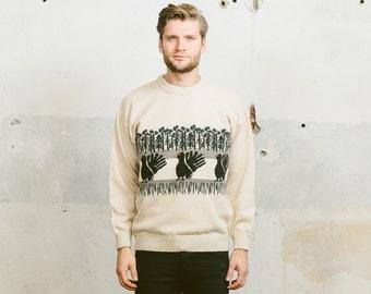 NOVELTY PRINT Sweater . Vintage 1980s Men's Animal Print Nordic Winter Jumper Preppy Black and White Cozy Pullover . Medium Large XL