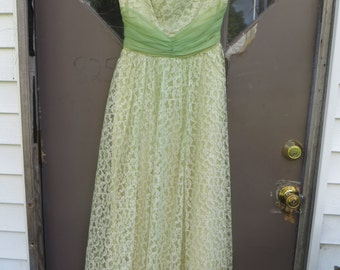 1950s lace and chiffon  Lime green  and yellow/  green satin tea length party prom gown dress