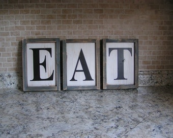 Eat Sign | Rustic Distressed Sign | Eat Sign | Farmhouse Kitchen Country Sign | Painted Wall Sign | Hanging Wood Sign |