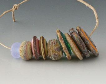 Rustic Mix - (9) Handmade Lampwork Beads - Brown, Green, Pink