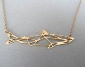 geometric jewelry, geometric necklace, shark necklace, geometric shark necklace, shark, shark jewelry