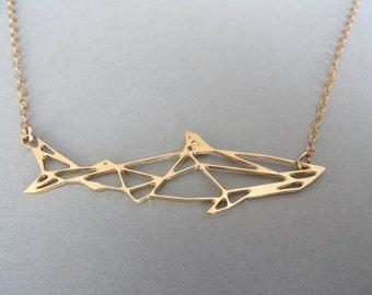 shark necklace, geometric jewelry, geometric necklace, geometric shark necklace, shark, shark jewelry