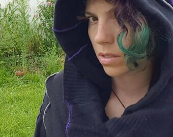 Witchy Black Recycled Sweater Coat Size Medium Large